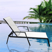 Outdoor white plastic sun lounger