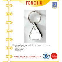 Blank nickel metal keychains/keyrings w/clear stone