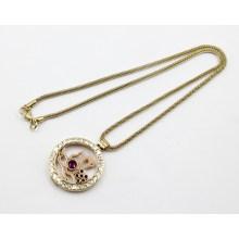 Art und Weise Goldüberzug-Edelstahl-lebende Locket-hängende Halskette