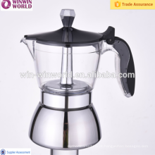 Fabricante de café superior do café do aço inoxidável do fogão dos produtos novos com o punho plástico liso