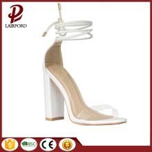 chunky heel confortable white summer ladies sandals