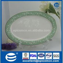 12''plano de servicio oval de cerámica, 12''plato grande de cerámica, 12''new bone pasta de china plato grande