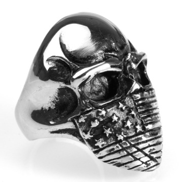 Silver Skull Letter National Flag Ring voor heren