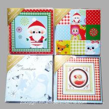 Carte de voeux décorée à la main / Vente en gros Carte de voeux de Noël avec enveloppement
