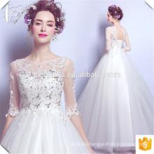 El rebordear cristalino elegante ata para arriba la parte posterior larga Trian modificó los vestidos al por mayor de las novias Vestidos De Noiva Vestido de boda