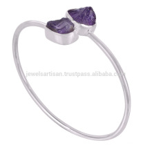 Online Wholesale Silver Jewelry Beautiful Amethyst Rough Stone 925 Sterling Silver Bangle