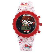 flash light watch for kids and promotion us can custom logo and cartoon