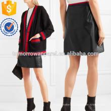 Gorgorão-aparado couro mini saia fabricação atacado moda feminina vestuário (TA3055S)