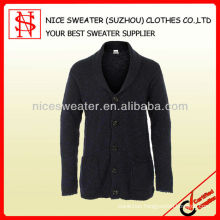 Men's 50%wool 50%acrylic shawl neck cardigan