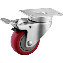 Средней нагрузки 3 дюймов PU колеса с тормозами