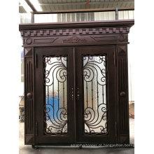 Portas feitas sob encomenda forjadas da entrada dobro de ferro forjado da porta exterior