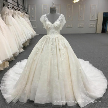 2017 latest design white v-neck wedding dress bridal gown