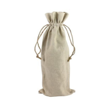 Natural Linen Vertical Wine Bag with Drawstring