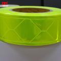 Fluorescent lime-yellow high gloss trim retro reflective PVC strip