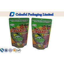 Recycle PET / PE stand up zipper pouch bags for Snacks / dr