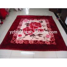 Korea Hot Polyester Flower Printed Raschel Mink Blankets