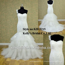 2014 одно плечо элегантный русалка свадебное платье скидка