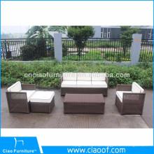 Conjuntos de móveis de jardim de Rattan marrom de preço inferior de fábrica