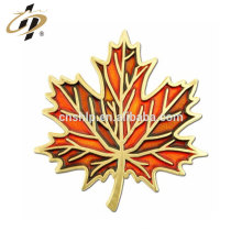 Wholesale alloy stamp gold plate embossed paint metal Leaf Pin