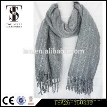 Écharpe en hiver gris simple et décente pour homme, écharpe acrylique musulman Abaya acrylique Hijab