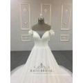 Escote en V cola larga 2018 hombro para niñas vestido de boda nupcial