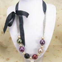 Bulk kostym smycken Fake Ribbon Pearl Necklaces