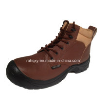 Casual Sports Style Brown Split Embossed Leather Safety Shoes (HQ03056)