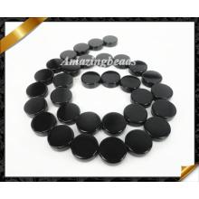 Bijoux naturels, Black Onyx Flat Round Stone Beads Wholesale (AG015)