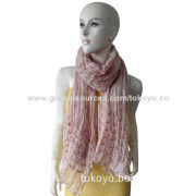 Woven scarf with yarn dyed and fancy yarns, measures 180*70cm, over-locked, modal and acrylic