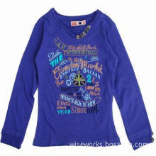 Girl's long sleeves T-shirt with printing and embroidery