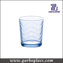 Light Blue Color Wave Design Glass Water Cup