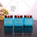 Custom frosted glass jars 18oz 560ml honey square glass jar for food storage