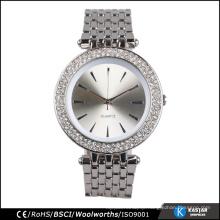 wholesale luxury watch bracelet, stones bezel quartz silver women watch