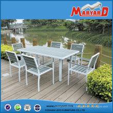 Table à manger en aluminium Frame Polywood et chaise