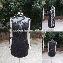 NW-471 Delicate Applique Langarm Kurzes Kleid Abendkleid