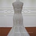 de novia cristal rebordear Champagne sirena novia vestido