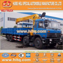 DONGFENG 8x4 12 tons XCMG crane flatbed truck with crane C280 33 280hp