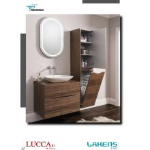 Modern Style Bathroom Vanity Horizontal American Walnut Veneered Door with Wire Basket Tall Unit