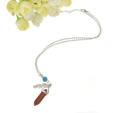 Goldstone Feather Hexagonal Prism Pendant Necklace