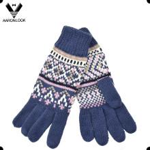 Женская мода зимний жаккардовый трикотажные перчатки пять перчаток