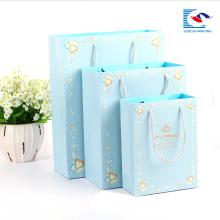 Luxo reciclado personalizado varejo papel azul compras com logotipo