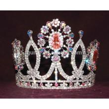 Corona cristalina de encargo de la tiara de la flor colorida del rhinestone