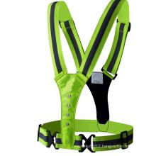 LED Reflective Vest high visibility breathable adjustable flashing reflective safety elastic vest belt strap for outdoor sports