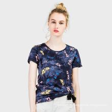 Kundenspezifischer Digitaldruck geerntetes T-Shirt Frauen, T-Shirt