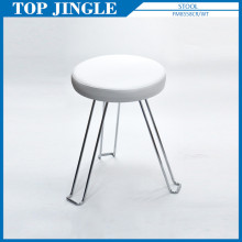 White Leather Round Cushion Folding Stool for Bar