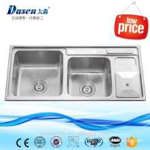 SUS brush finish kitchen sink Vietnam double bowl with waste drainer