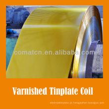 verniz dourado e bobina revestido de folha de Flandres para podem tampa produção