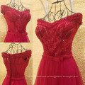 Vestido de noiva vermelho encantador Vestido De Festa Longo Vestido de noiva de pérolas com pérolas Vestido de festa sexy com vestido de noiva com tiracolo ML210