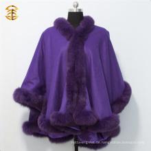 Erwachsene Winter Kaschmir Capes und Ponchos für Frauen mit Fox Pelz Trim