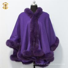 Caps e ponchos de cashmere de inverno adultos para mulheres com guarnição de pele de raposa